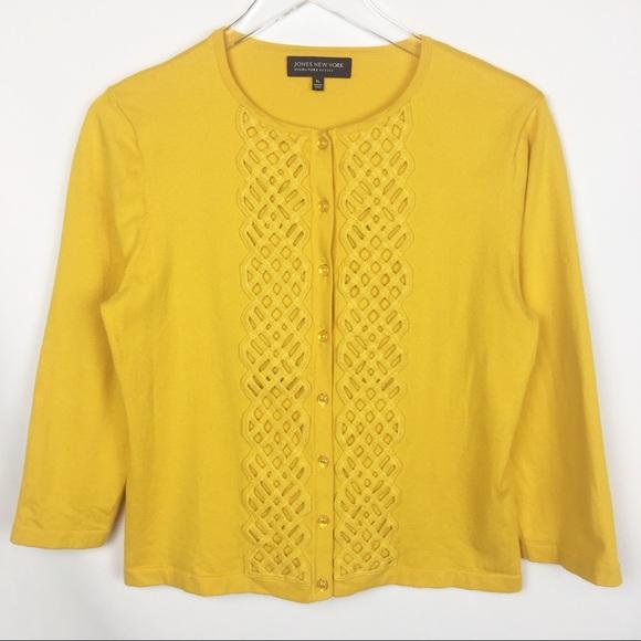 Jones New York Sweaters Mustard Yellow Cardigan Sweater L P Poshmark